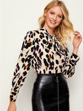 Load image into Gallery viewer, LEOPARD PRINT TIE NECK BLOUSE