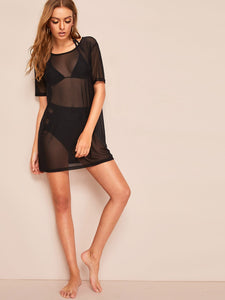 SHEER MESH COVER UP WITHOUT LINGERIE SET