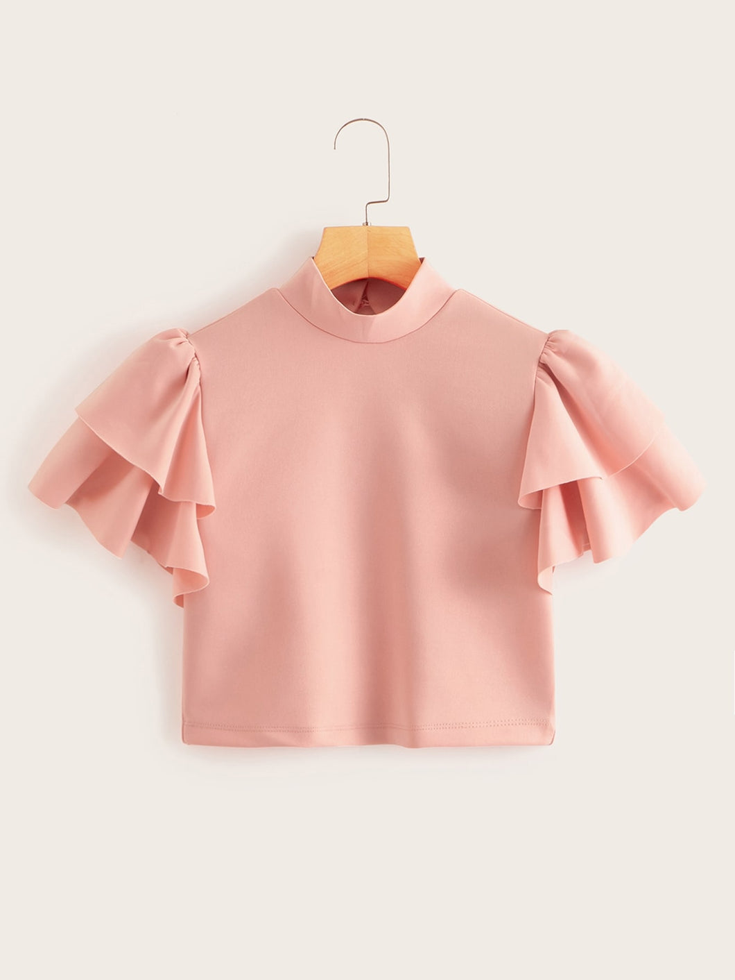 Mock Neck Layered Flounce Sleeve Crop Top