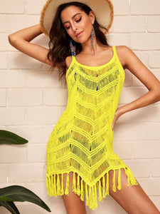 FRINGE HEM SLIP BODYCON COVER UP