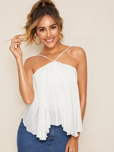 HEM CRISS-CROSS KNOTTED BACKLESS CAMI TOP