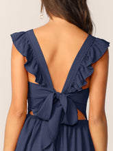 Load image into Gallery viewer, TIE BACK RUFFLE STRAP SKATER DRESS