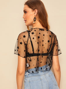 SHEER STAR MESH CROP TOP WITHOUT BRA