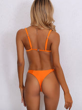 Load image into Gallery viewer, NEON ORANGE TRIANGLE TOP WITH HIGH CUT BIKINI
