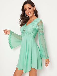 KNOT BACKLESS LACE BODICE MESH SLEEVE DRESS
