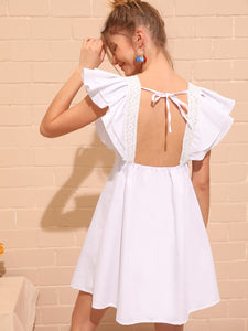 LACE PANEL BUTTERFLY SLEEVE OPEN BACK DRESS