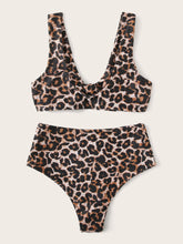 Load image into Gallery viewer, LEOPARD KNOT FRONT TOP WITH HIGH WAIST BIKINI