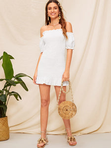OFF SHOULDER RUFFLE HEM BODYCON SHIRRED DRESS