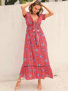 TRIBAL DITSY FLORAL TIE FRONT MAXI DRESS