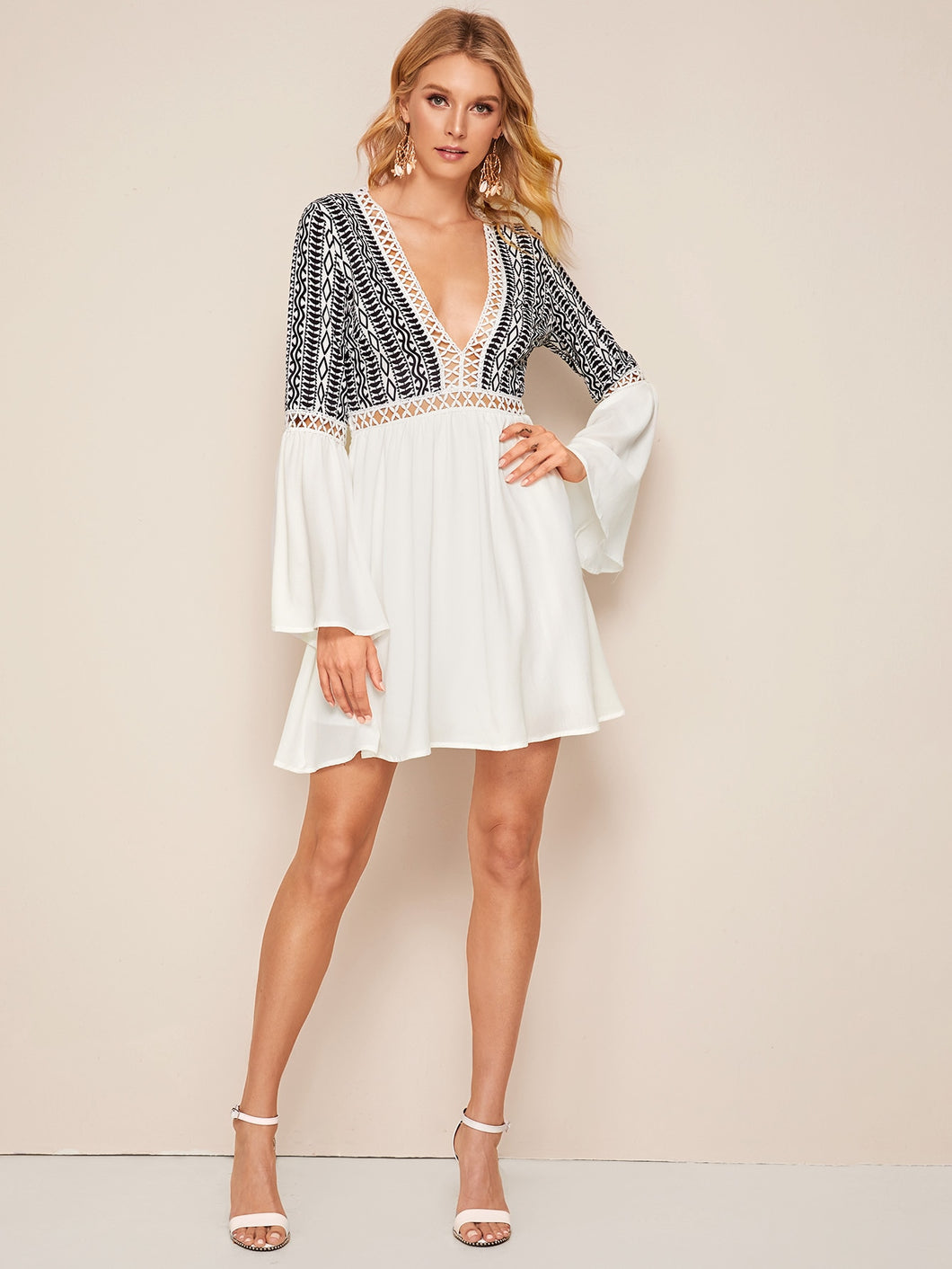 Plunging Neck Lace Insert Bell Sleeve Tribal Print Dress