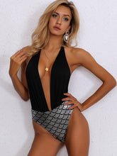 Load image into Gallery viewer, FISH SCALE PLUNGE NECK ONE PIECE SWIMSUIT