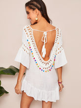 Load image into Gallery viewer, TASSEL TIE BACK POMPOM DETAIL CROCHET INSERT COVER UP