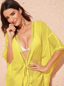 Tied Waist Lace Trim Deep V Neck Cover Up