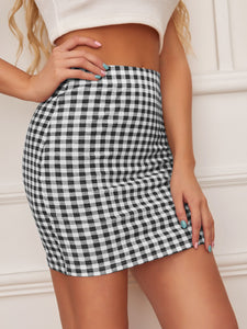 GINGHAM BODYCON SKIRT