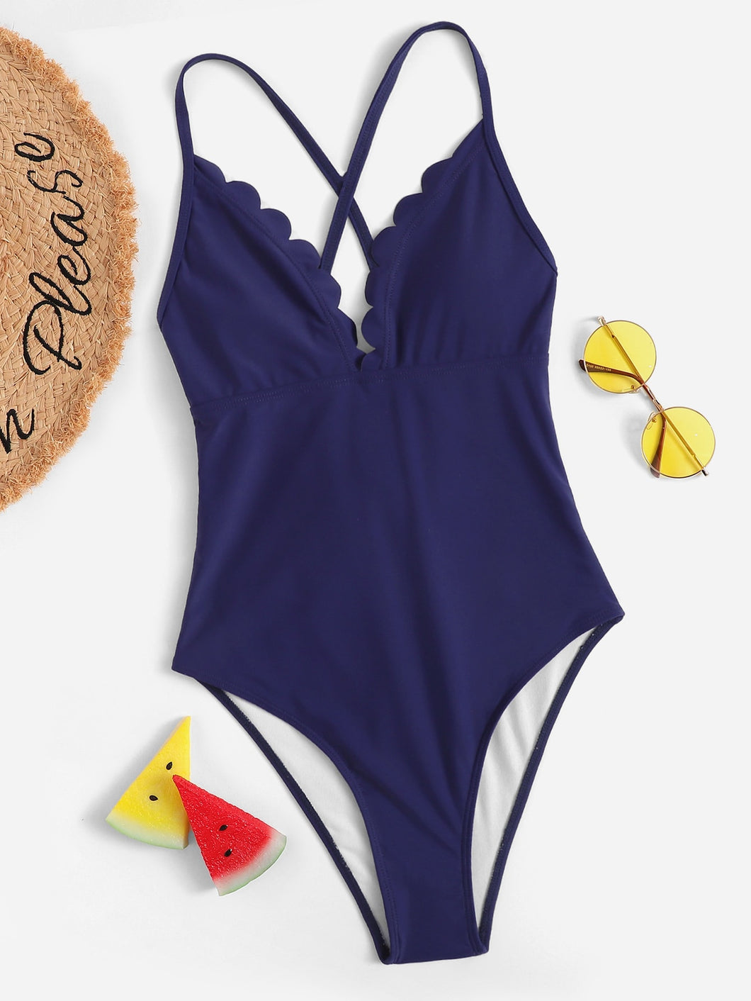 CROSS BACK SCALLOPED TRIM ONE PIECE SWIMSUIT