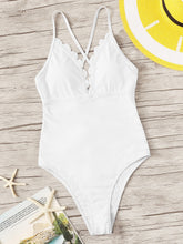 Load image into Gallery viewer, CROSS BACK SCALLOPED TRIM ONE PIECE SWIMSUIT