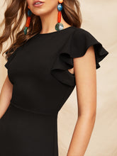 Load image into Gallery viewer, V-BACK LAYERED RUFFLE HEM FLUTTER SLEEVE DRESS