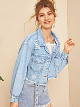 Load image into Gallery viewer, RIPPED RAW HEM FLAKES CROP DENIM JACKET