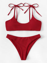 Load image into Gallery viewer, SHOULDER SELF TIE TOP WITH RIBBED BIKINI SET
