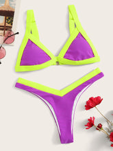 Load image into Gallery viewer, CONTRAST TRIM TRIANGLE TOP WITH HIGH LEG BIKINI