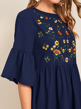Load image into Gallery viewer, EMBROIDERED FLORAL FLOUNCE SLEEVE SMOCK DRESS