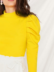 NEON YELLOW MOCK-NECK PUFF SLEEVE TOP