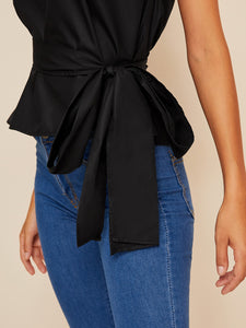 ONE SHOULDER PUFF SLEEVE BELTED SOLID TOP