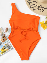 Load image into Gallery viewer, ONE SHOULDER BELTED ONE PIECE SWIMSUIT