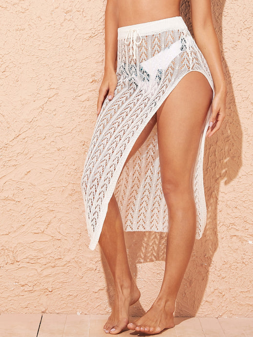 DRAWSTRING WAIST SPLIT THIGH CROCHET COVER UP SKIRT