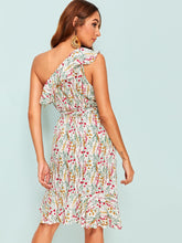 Load image into Gallery viewer, RUFFLE TRIM DITSY FLORAL ONE SHOULDER DRESS
