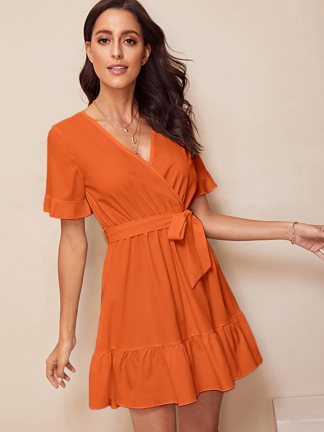 SURPLICE WRAP BELTED RUFFLE HEM DRESS