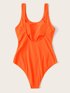 NEON GREEN CUT-OUT FRONT ONE PIECE SWIMWEAR