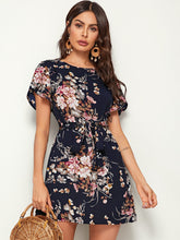 Load image into Gallery viewer, Floral Print Petal Sleeve Belted Dress