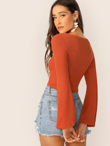 DRAWSTRING FRONT BELL SLEEVE CROP TOP