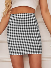Load image into Gallery viewer, GINGHAM BODYCON SKIRT