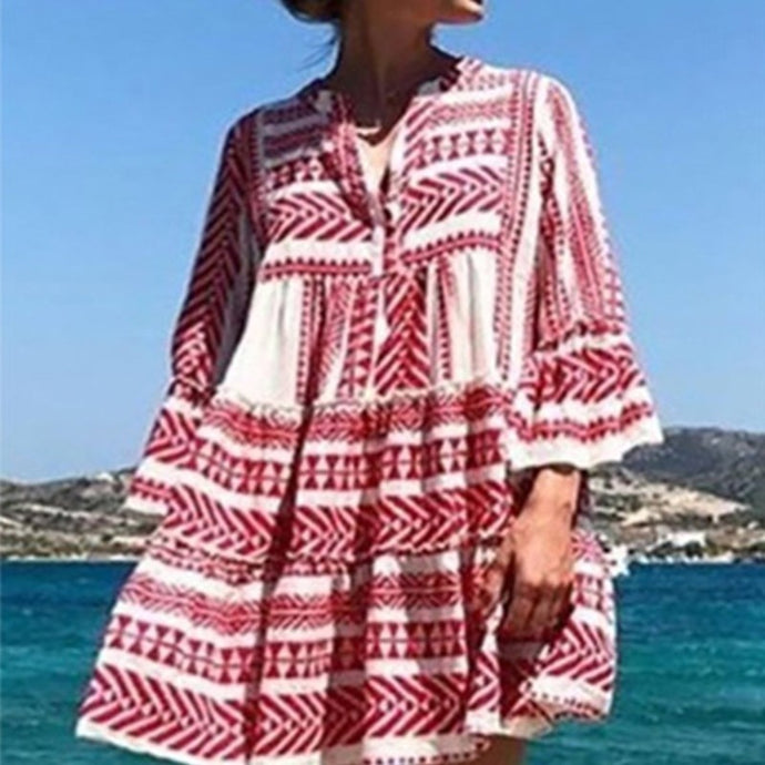 BOHO BEACH RUFFLES DRESS