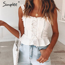 Load image into Gallery viewer, STRAP RUFFLE WHITE PLEATED CROP TOP