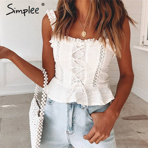 STRAP RUFFLE WHITE PLEATED CROP TOP