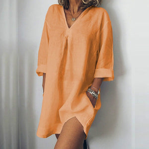 V NECK LONG SLEEVE DRESS CASUAL LOOSE