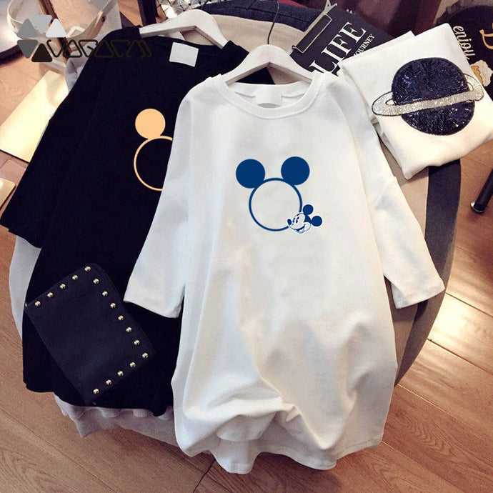 WOMEN SUMMER DRESSES PLUS SIZE MINNIE MICKEY MOUSE MINI DRESS BLACK WHITE CASUAL LOOSE CARTOON PRINT DAILY VESTIDOS