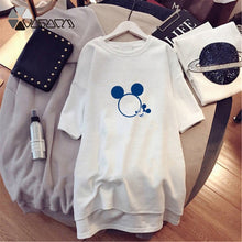 Load image into Gallery viewer, WOMEN SUMMER DRESSES PLUS SIZE MINNIE MICKEY MOUSE MINI DRESS BLACK WHITE CASUAL LOOSE CARTOON PRINT DAILY VESTIDOS