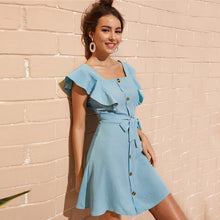 Load image into Gallery viewer, Button Front Self Tie Shirt Mini Dress