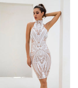 WHITE RETRO SEQUINS DRESS