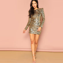 Load image into Gallery viewer, Gold Form Fitting Sequin Round Neck Long Sleeve Bodycon Dress