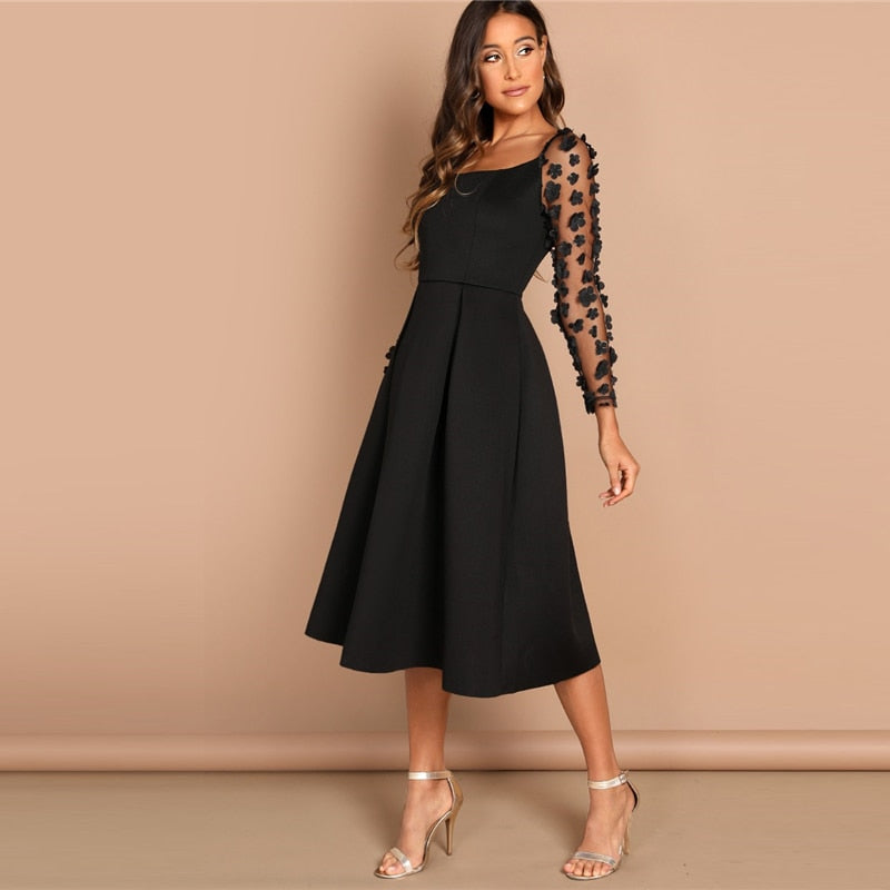 Night Out Contrast Mesh Appliques Pleated Square Neck Knee Length Dress