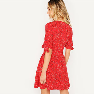 Red Knot Cuff Button Up Ditsy Floral Print Belted