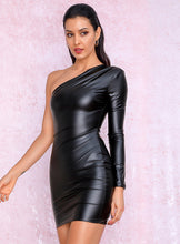 Load image into Gallery viewer, BLACK ONE SHOULDER  MINI DRESS