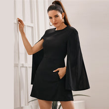 Load image into Gallery viewer, Black Cloak Sleeve Pocket Side Dress