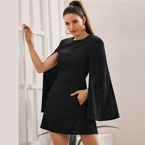 Black Cloak Sleeve Pocket Side Dress