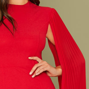 Red Solid Pleated Cape Party Bodycon Dress